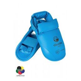 Protege pieds Tokaido WKF avec velcro pour tibias bleu ou rouge