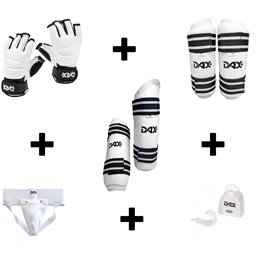 Pack protection Taekwondo starter Bras Tibias Mitaines Coquille Dent
