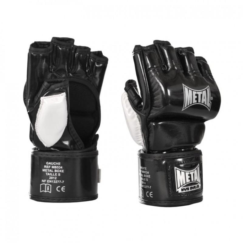 Gants combat libre competition Metal Boxe noir