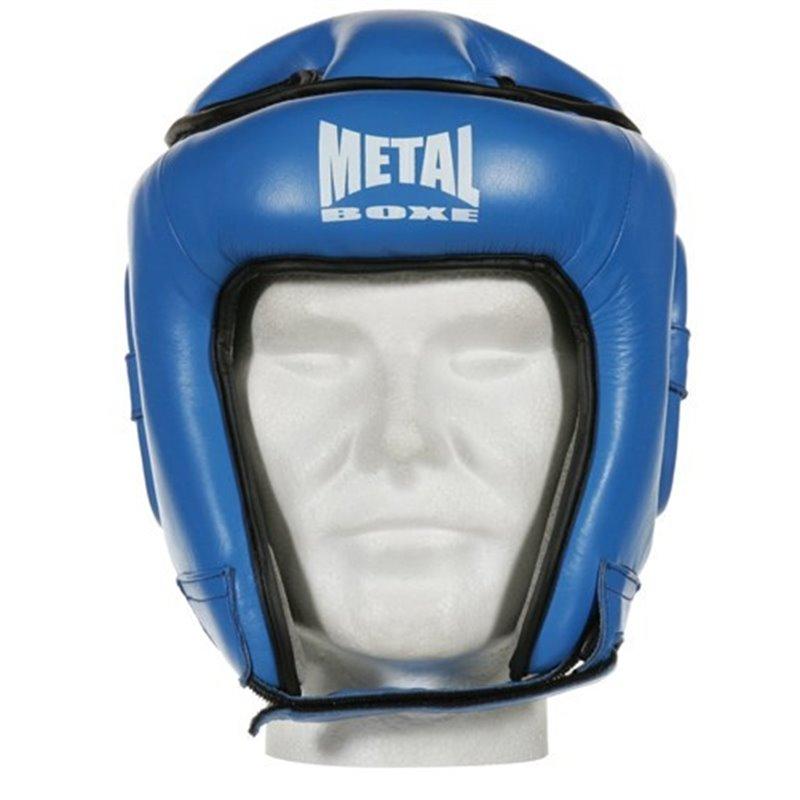 Casque de competition cuir Metal boxe bleu