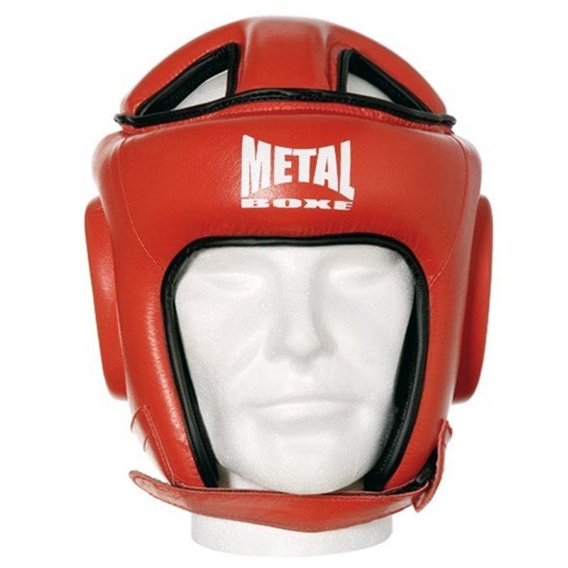 Casque de competition cuir Metal boxe rouge