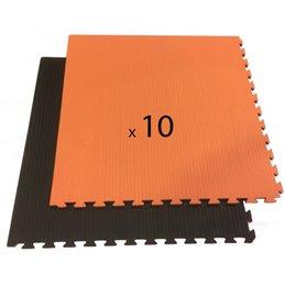 Tatami / Tapis emboitable puzzle 2 cm epaisseur noir et orange lot de 10 dalles de 1m²