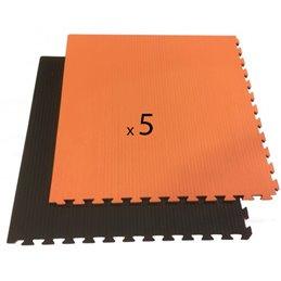 Tatami / Tapis emboitable puzzle 4 cm epaisseur noir et orange lot de 5 dalles de 1m²