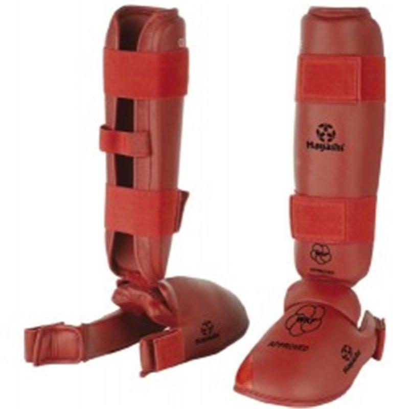 Protege tibias et pieds amovible gel Hayashi WKF rouge