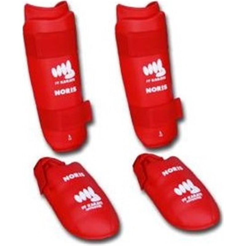 Protection tibias et pieds homologué FF Karate Noris rouge